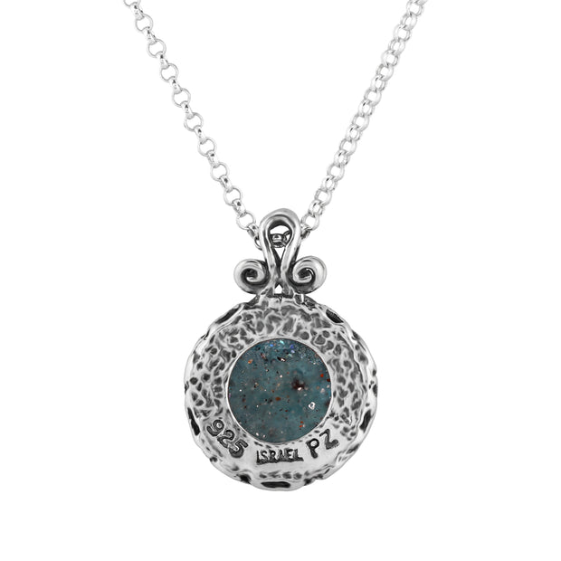 Silver Roman Glass Pendant Necklace  - Paz Creations Jewelry