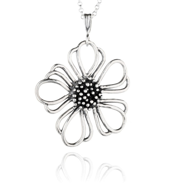 Sterling Silver Floral Necklace  - Paz Creations Jewelry