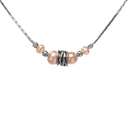 ".925 Sterling Silver Pink Cultured Freshwater Pearl Station 36"" Necklace  - Paz Creations Jewelry"