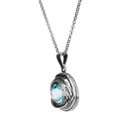 Sterling Silver Swirl Design Solitaire Gemstone Pendant - Paz Creations