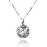 Sterling Silver Swirl Design Solitaire Gemstone Pendant  - Paz Creations Jewelry