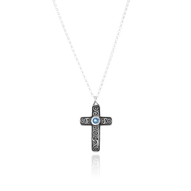 Sterling Silver Gemstone Cross Pendant Necklace  - Paz Creations Jewelry