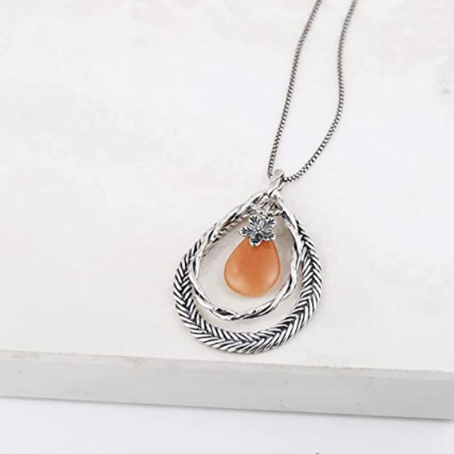 Sterling Silver Gemstone Necklace  - Paz Creations Jewelry