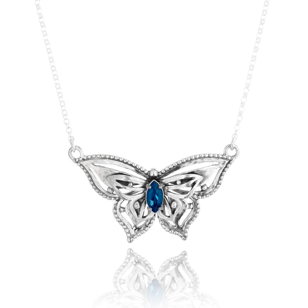 Sterling Silver Gemstone Butterfly Necklace  - Paz Creations Jewelry