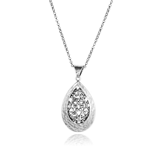 Sterling Silver Filigree Teardrop Necklace  - Paz Creations Jewelry