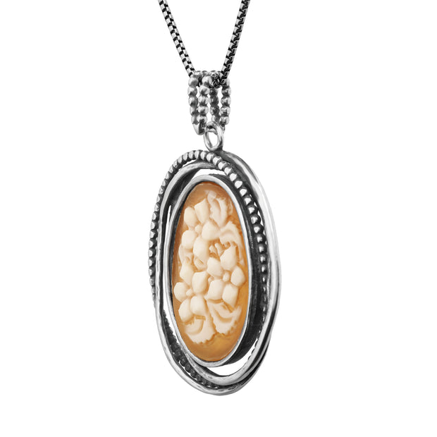 Silver Cameo Pendant Necklace  - Paz Creations Jewelry