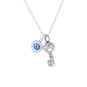 Sterling Silver Evil Eye & Key Pendant Necklace  - Paz Creations Jewelry