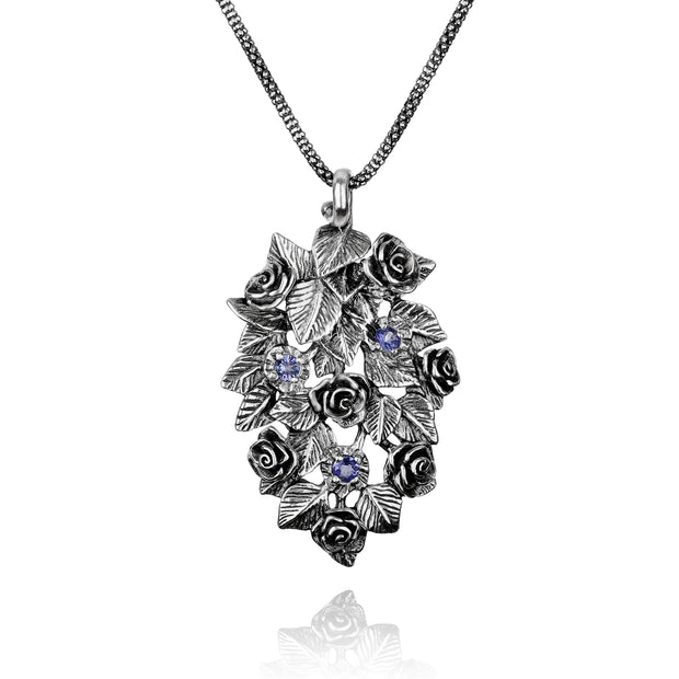 Silver Floral Tanzanite Gemstone Pendant Necklace - Paz Creations