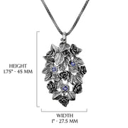 Silver Floral Tanzanite Gemstone Pendant Necklace  - Paz Creations Jewelry