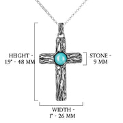 Silver Cross Pendant with Round Turquoise Stone - Paz Creations