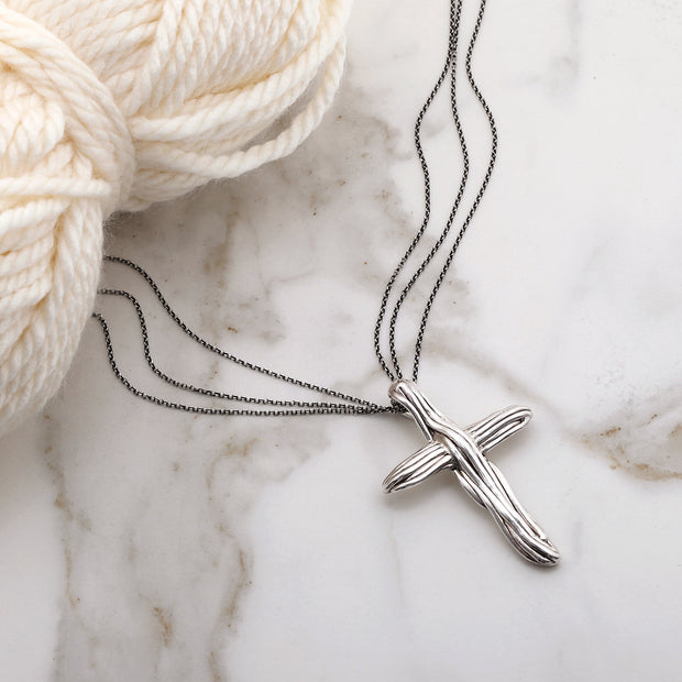 Sterling Silver and Electroform Polish Cross Pendant Necklace - Paz Creations