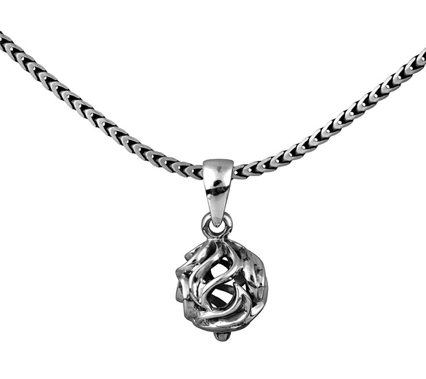 Sterling Silver Openwork Filigree Ball Pendant Necklace for Men  - Paz Creations Jewelry