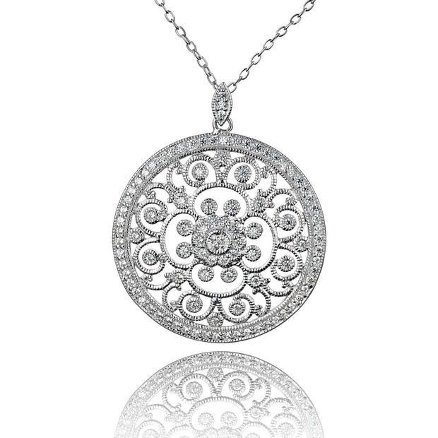 Sterling Silver Cubic Zirconia Pendant Necklace  - Paz Creations Jewelry