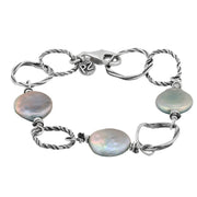 Sterling Silver Textured Link Pearl Coin Bracelet - Paz Creations