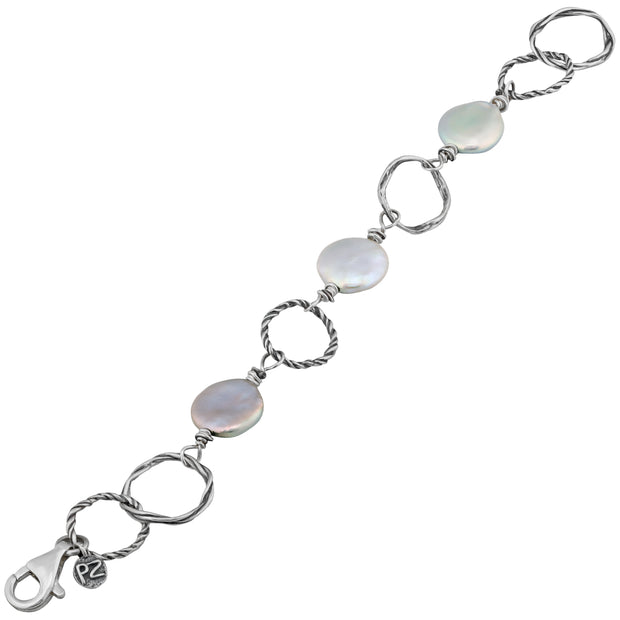 Sterling Silver Textured Link Pearl Coin Bracelet  - Paz Creations Jewelry