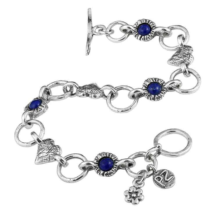 Sterling Silver Lapis Gemstone & Heart Charm Link Toggle Bracelet  - Paz Creations Jewelry