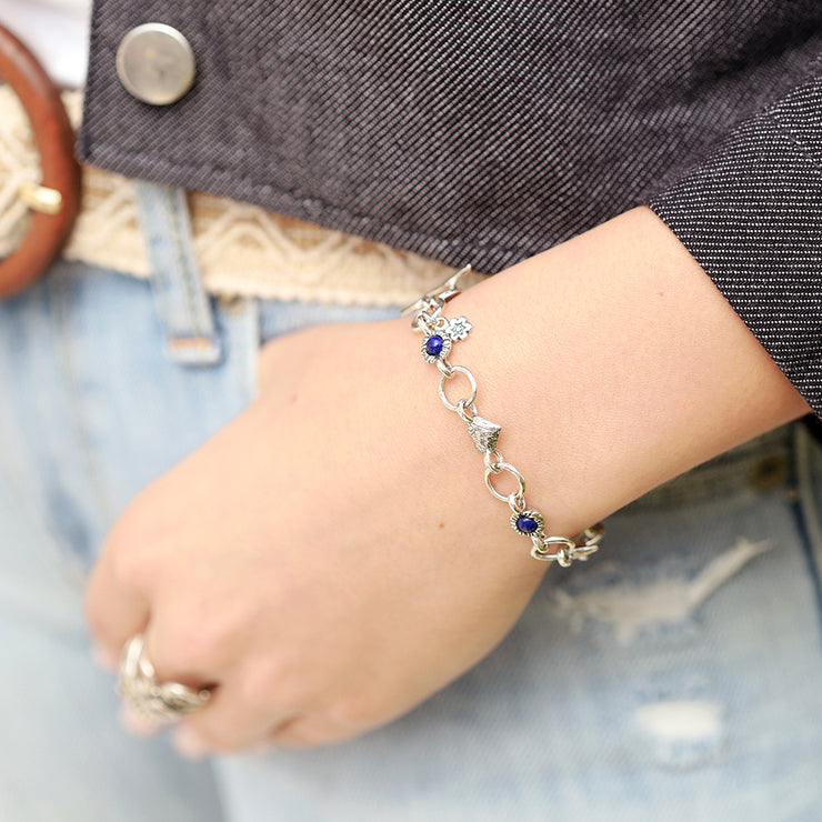 Sterling Silver Charm Bracelet with Lapis & Heart Charm  - Paz Creations Jewelry