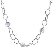 Sterling Silver Textured Link Pearl Coin Necklace  - Paz Creations Jewelry