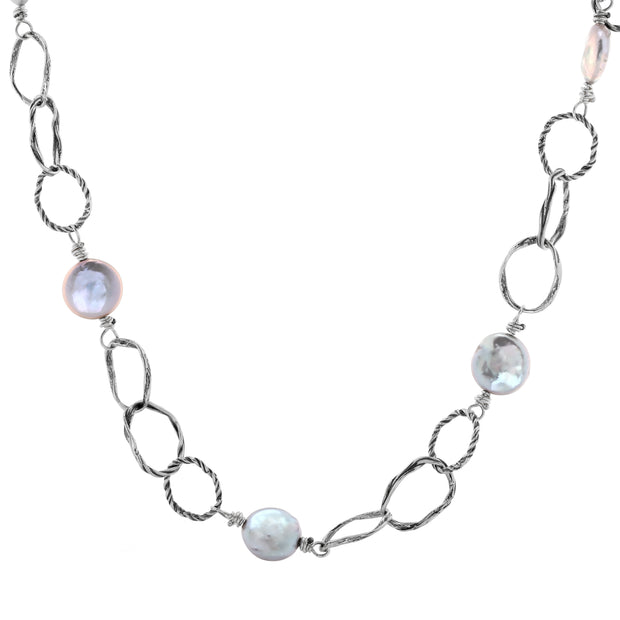 Sterling Silver Textured Link Pearl Coin Necklace - Paz Creations