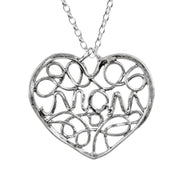 Sterling Silver Filigree MOM Heart Pendant Necklace for Mother's Day  - Paz Creations Jewelry