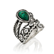 Sterling Silver Pear-Shaped Chrysocolla and White Topaz Gemstone Textured Ring - Paz Creations