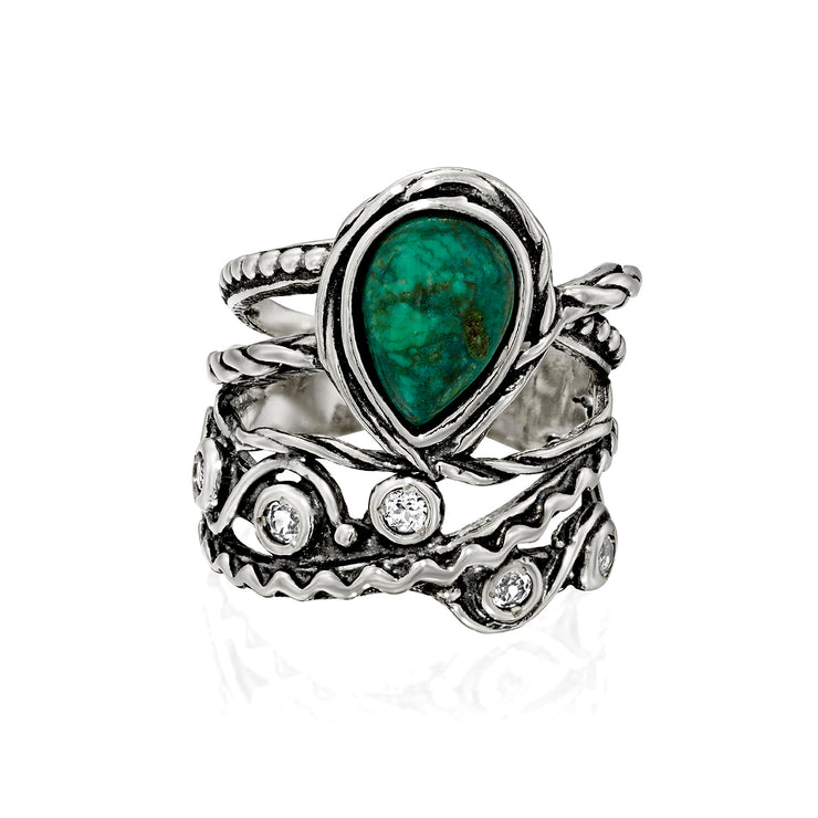 Sterling Silver Pear-Shaped Chrysocolla and White Topaz Gemstone Textured Ring  - Paz Creations Jewelry