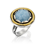 Sterling Silver Two-Tone Gemstone Ring  - Paz Creations Jewelry