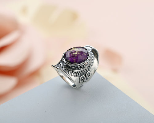 Sterling Silver and Gold Triplet Ring - with Amethyst or Turquoise Gemstone - Paz Creations