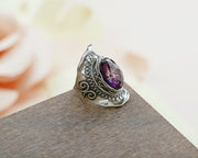 Sterling Silver and Triplet Ring - with Amethyst or Turquoise Gemstone - Paz Creations