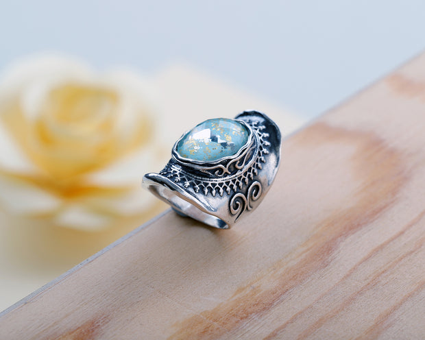 Sterling Silver and Triplet Ring - with Amethyst or Turquoise Gemstone  - Paz Creations Jewelry