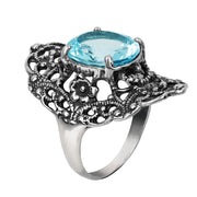 Sterling Silver Statement Filigree Ring with Blue Topaz - Paz Creations