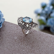 Sterling Silver Statement Filigree Ring with Blue Topaz  - Paz Creations Jewelry
