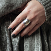Sterling Silver Hammered Saddle  Ring - Paz Creations