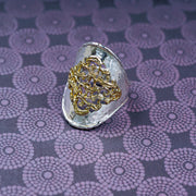 Sterling Silver and Gold Filigree Statement Ring - Paz Boutique  - Paz Creations Jewelry