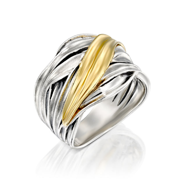 Sterling Silver Two-Tone Highway Ring  - Paz Creations Jewelry