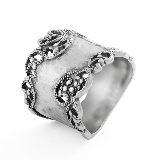Sterling Silver Hammered Filigree Ring  - Paz Creations Jewelry