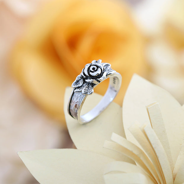 Sterling Silver Rose Flower Ring - Paz Creations