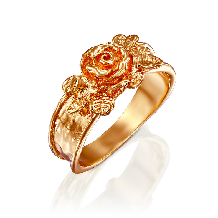 Sterling Silver Rose Flower Ring - Available in Gold, Rose Gold & Silver Finishes  - Paz Creations Jewelry