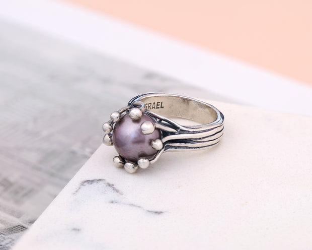 Sterling Silver Cultured Pearl Ring - Paz Creations