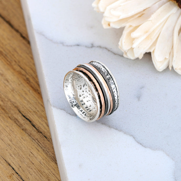 Sterling Silver Tri Color Spinner Ring - Paz Boutique  - Paz Creations Jewelry