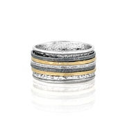 Sterling Silver Spinner Ring - 14K Yellow Gold & Black Rhodium Plating  - Paz Creations Jewelry