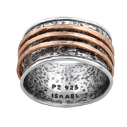 Sterling Silver Gold Over Silver Spinner Ring - with Matte Spinners  - Paz Creations Jewelry