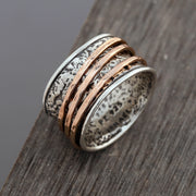 Sterling Silver Spinner Ring with Yellow Gold / Rose Gold Spinners - Paz Creations