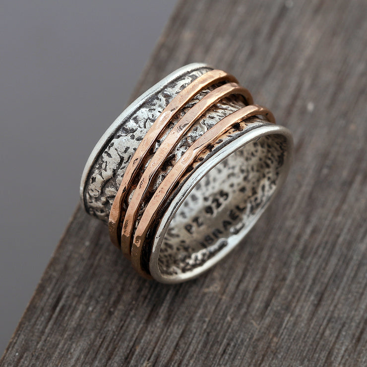 Sterling Silver Spinner Ring with Yellow Gold / Rose Gold Spinners  - Paz Creations Jewelry