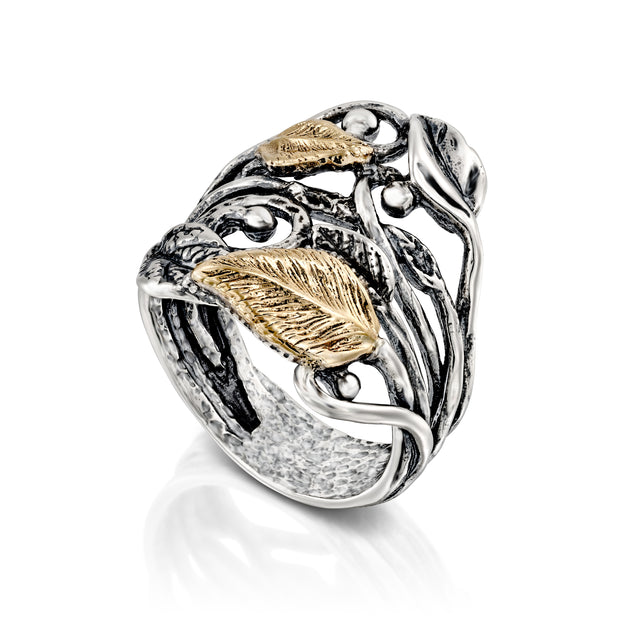 Sterling Silver and 14K Gold Leaf Ring - Paz Creations