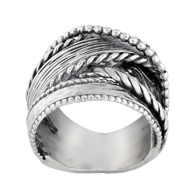 Sterling Silver Multi-Textured Highway Ring  - Paz Creations Jewelry