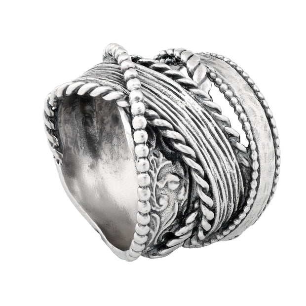 Sterling Silver Multi-Textured Highway Ring - Paz Creations