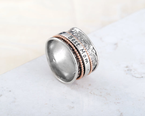 "Sterling Silver ""BEST MOM"" Mother's Day Spinner Ring  - Paz Creations Jewelry"