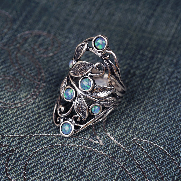 Sterling Silver Opal Gemstone Statement Ring - Paz Boutique  - Paz Creations Jewelry