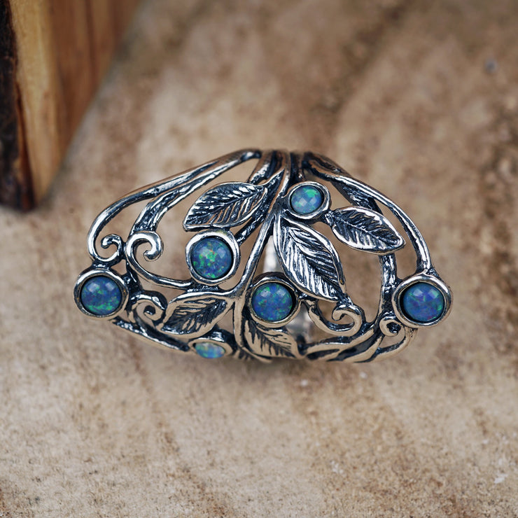 Sterling Silver Opal Gemstone Statement Ring - Paz Boutique - Paz Creations